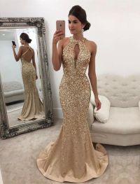 Long Champagne Satin Halter Prom Dress Mermaid Crystal ...
