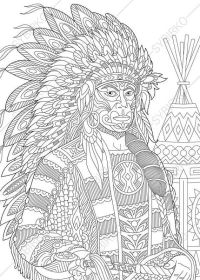 Native American - Coloring Pages for Adults | 280x200