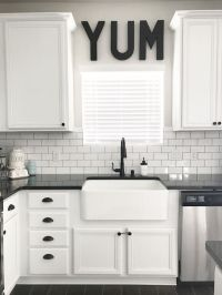 Black, White and Teal Kitchen. Farmhouse Sink. SOURCE ...