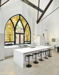 Ideas amazing church with yellow mosaic window decor transformed into eye catching kitchen bar black and white interior set spacious also transformation by scrafano architects interiors pinterest rh