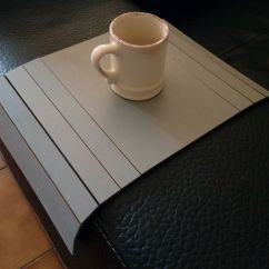 Sofa Arm Tray Wood Gray And White Pillows Foter Thesofa