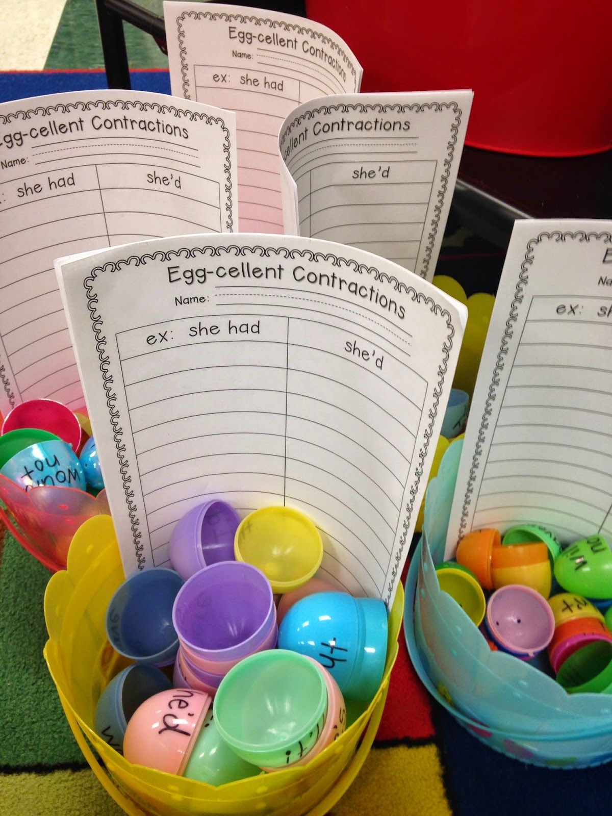 Free Contraction Egg Match Recording Sheet