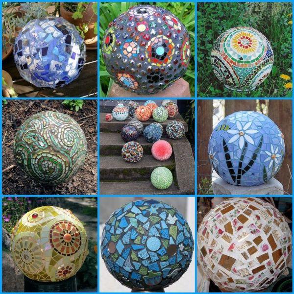Diy Garden Art Ideas Mosaic Bowling Ball And Mosaics