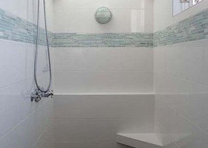 Bathroom white subway tile glass mosaic design pictures remodel decor and ideas also