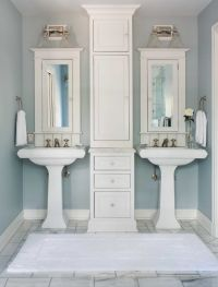 double pedestal sink Bathroom Traditional with medicine ...