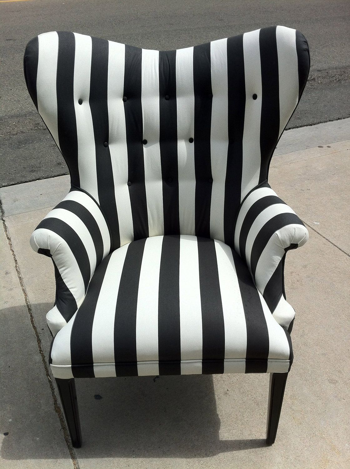 Black White Chair Black And White Striped Chair By Poeticrockstar On Etsy