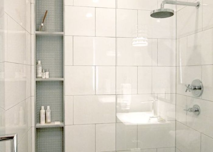 Larger white tile in brick lay pattern sleek modern shower beautiful also planning unique details for your custom niche