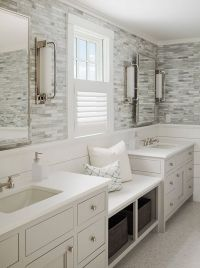 Calming master bathroom with shiplap and tile walls, a ...