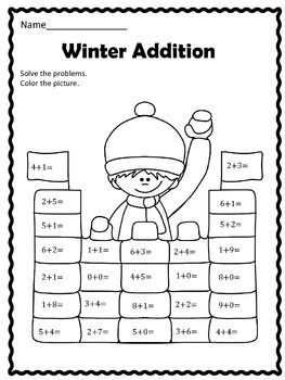 Winter Addition This Winter addition worksheet is fun for