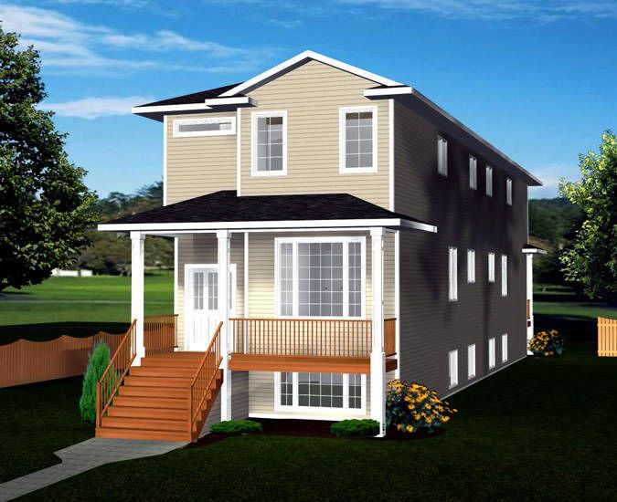 Narrow Lot Front To Back 2 Storey Bi Level Duplex Plan 2012658 By