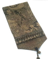 Elegant Gold Table Runner woven with a classic paisley ...