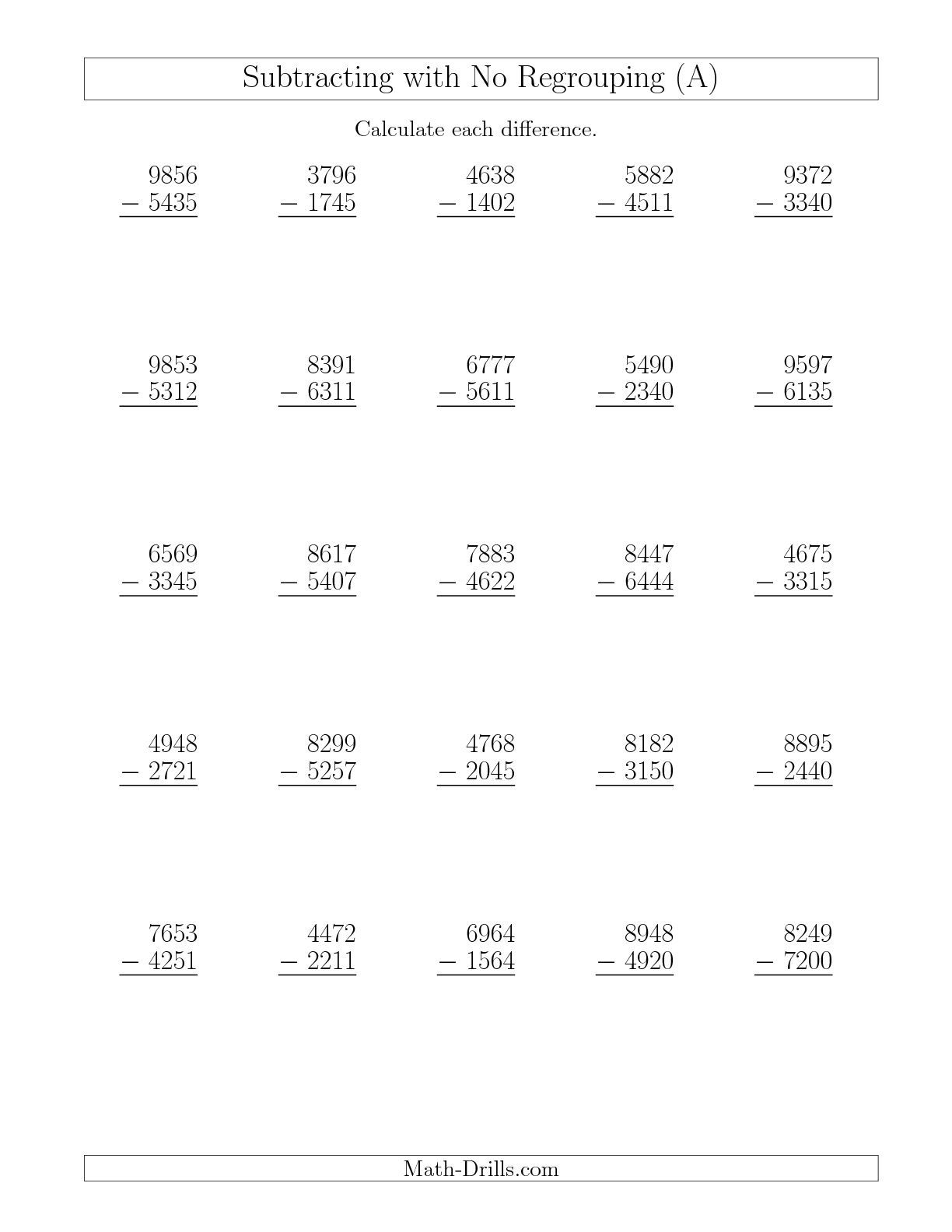 New 10 08 4 Digit Minus 4 Digit Subtraction With No Regrouping A Math Worksheet