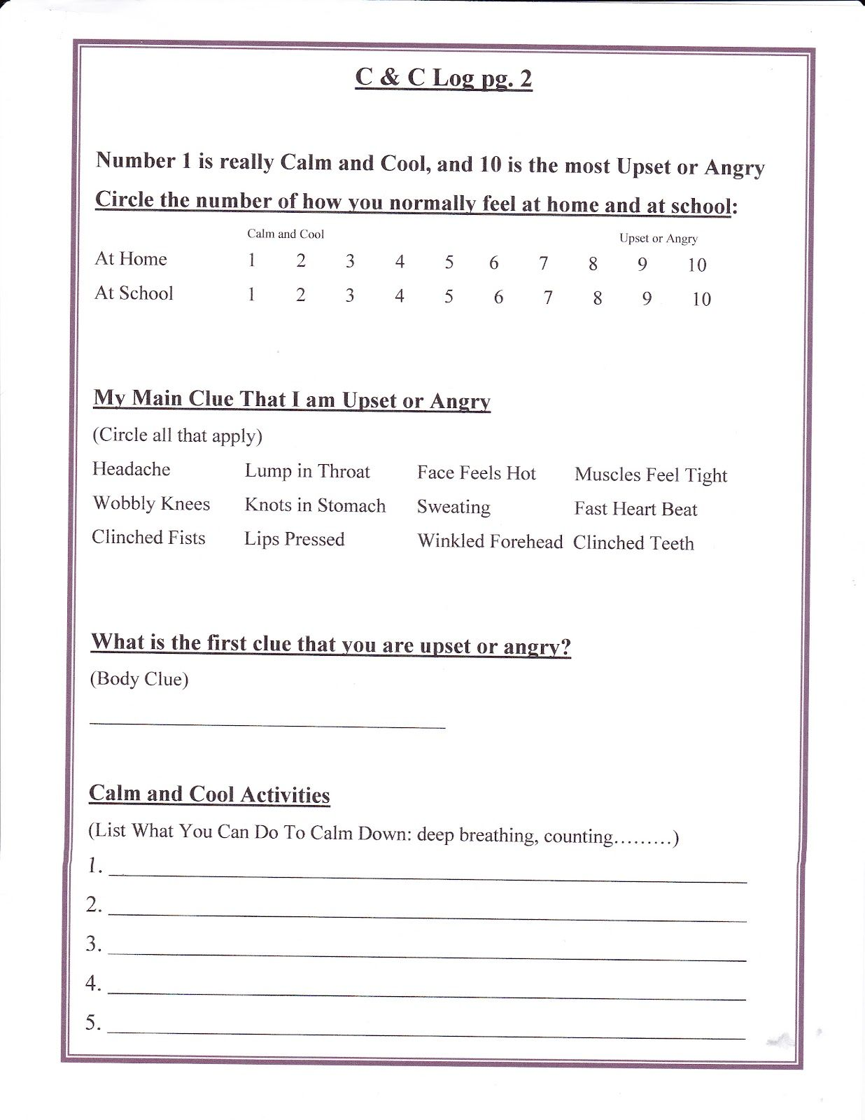 Lorinda Character Education Self Control Character Education 9 Anger Work Sheet