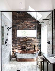 rustic and modern bathroom also house interiors rh pinterest