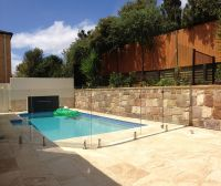 pool fence over retaining wall - Google Search | Swimming ...
