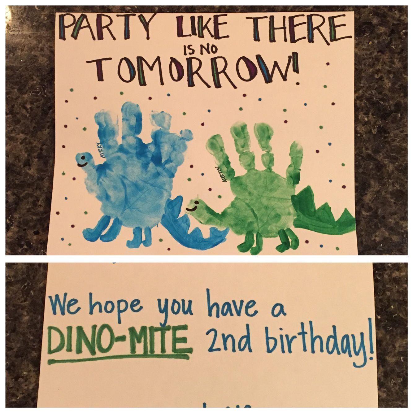 Dinosaur Handprint Birthday Card A Team Artwork