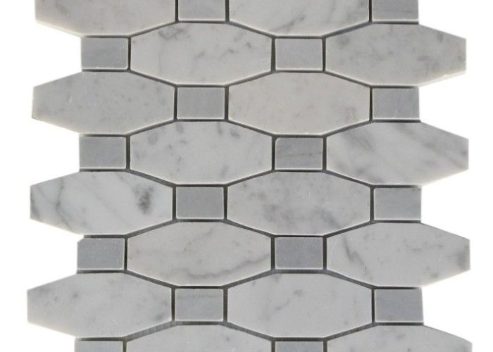 Octave pattern white carrera with light bardiglio dot glass tile shop tiles at glasstilestore also