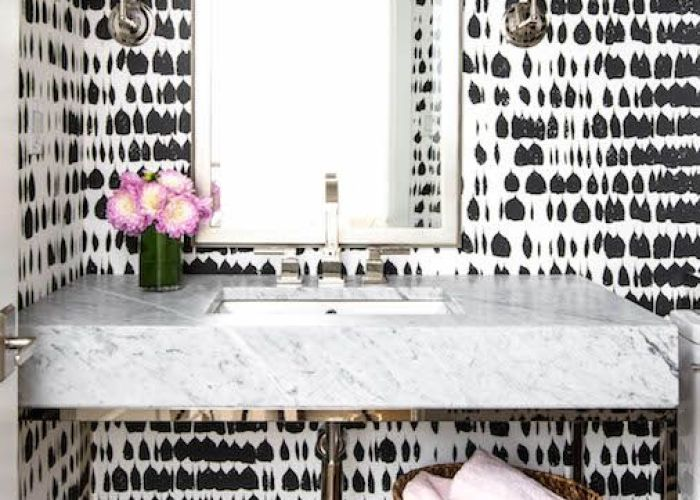 Amazing powder room is clad in black and white print wallpaper byzantium wallcovering collection queen also