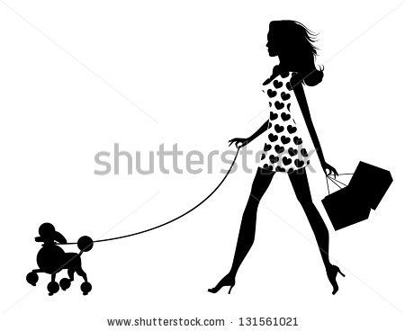 Woman Walking Dog Silhouette. EPS 8 vector, grouped for