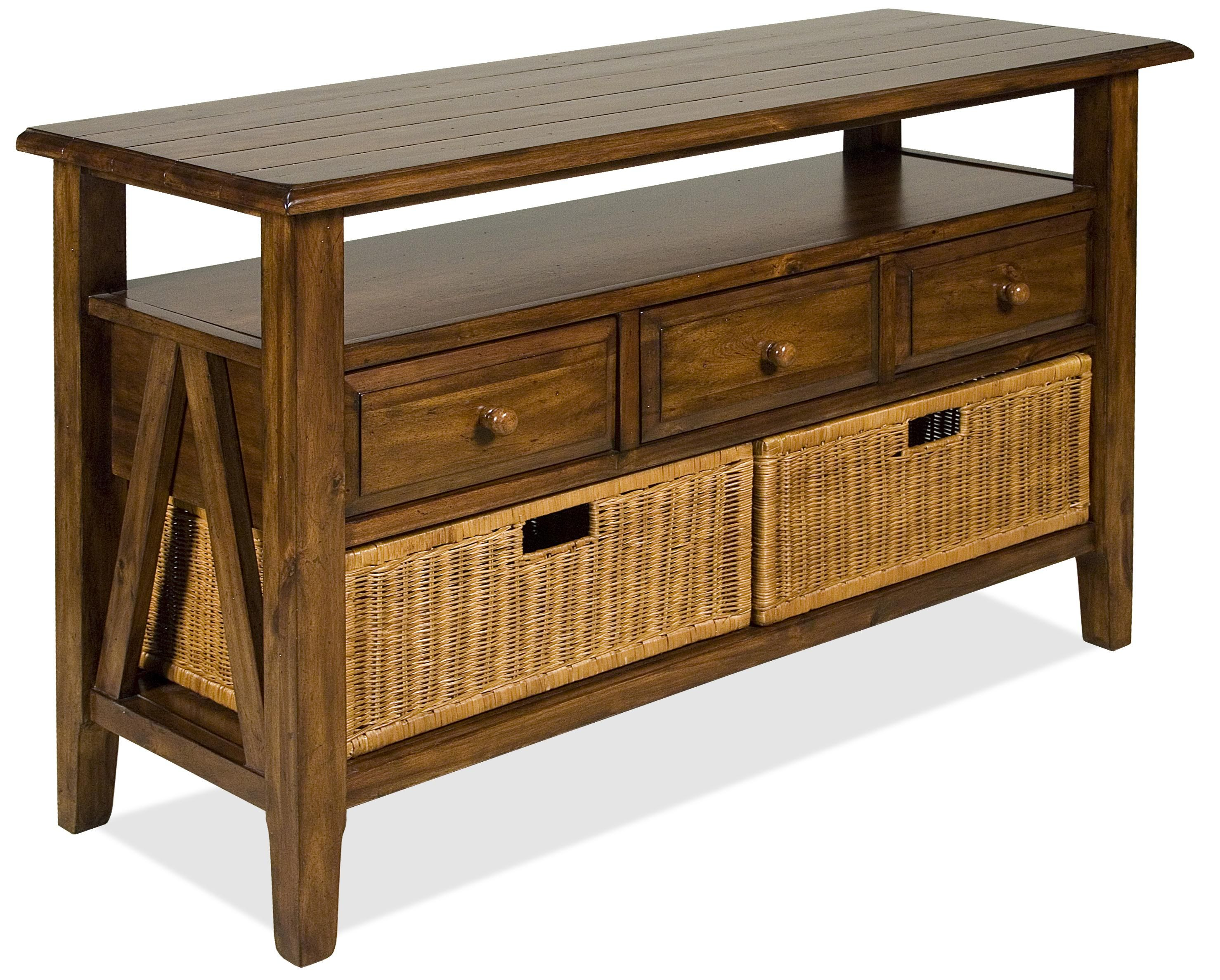 sofa table storage ligne roset bed sale riverside furniture claremont 3 drawer console with