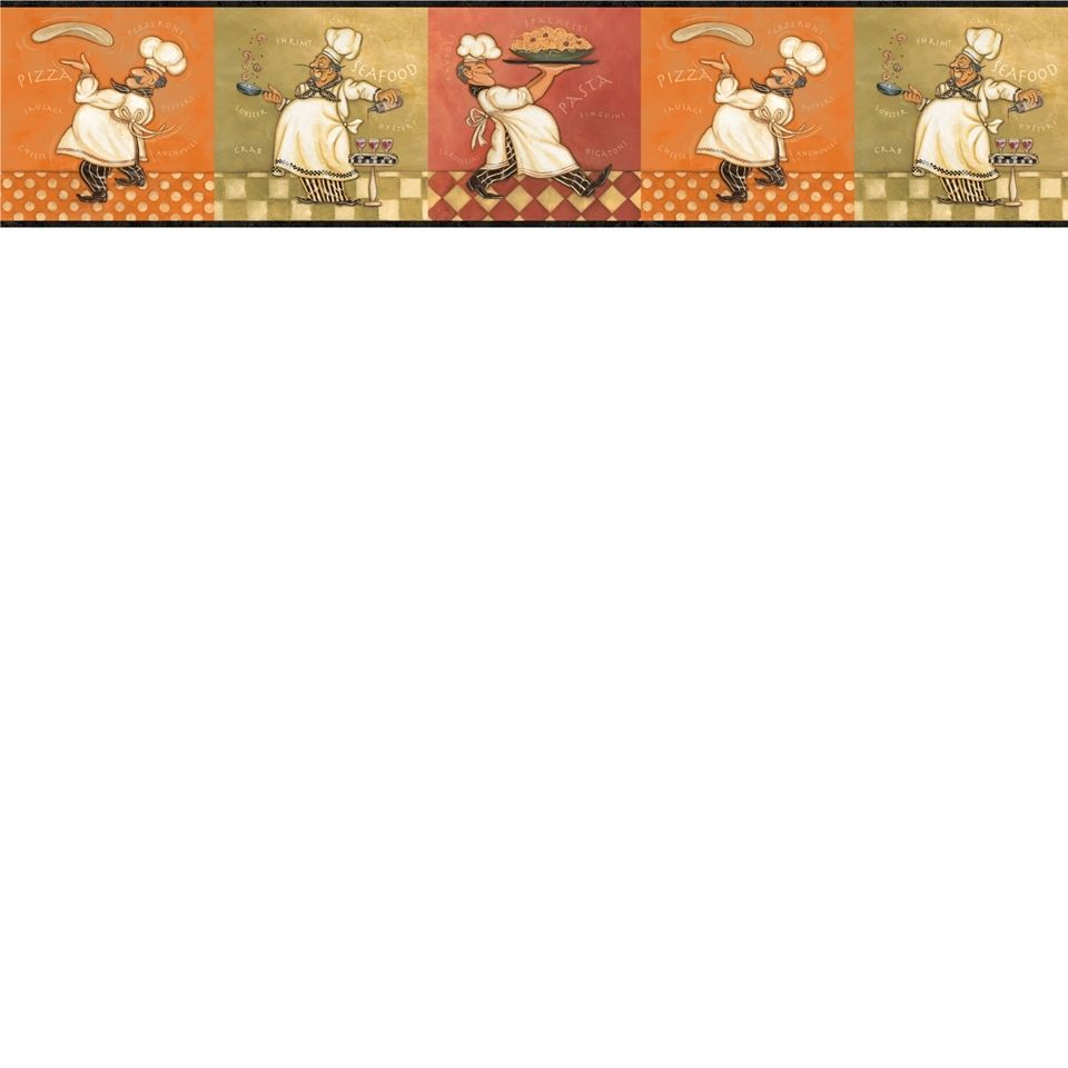 Italian Fat Chef Wallpaper Border KBE12641B Kitchen Decor