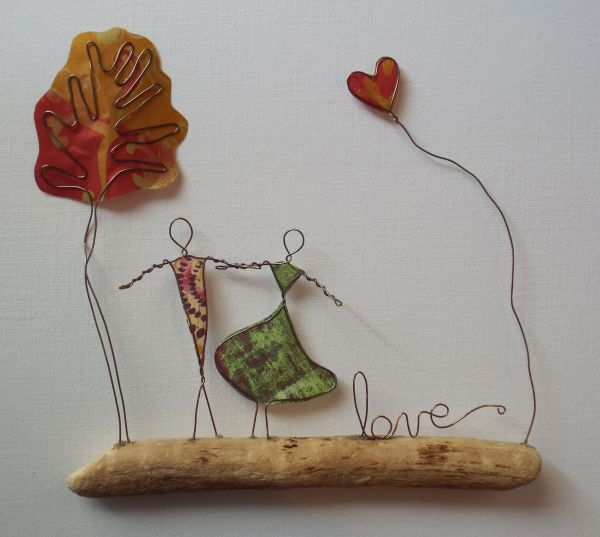 Wire Art Copper Paper & Driftwood