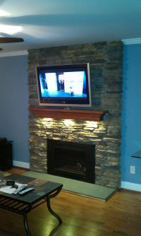 LED puck lights under your fireplace mantel. DIY fireplace ...
