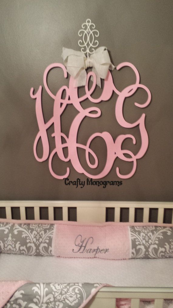 Painted wood monogram initials wall decor hanging wooden letters wedding office housewares home also rh pinterest