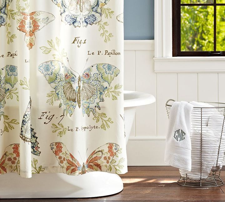 shower curtains with barns  Pottery Barn Butterfly Fabric
