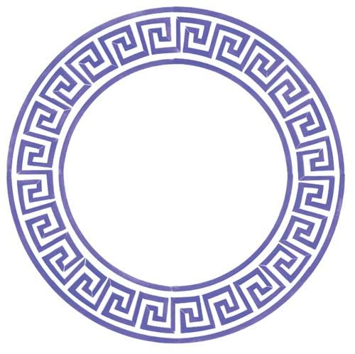 Small Greek Key Circle Designer Stencils Durniture