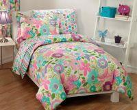 NEW Girls Daisy Flower Butterfly Pink Aqua Bedding ...