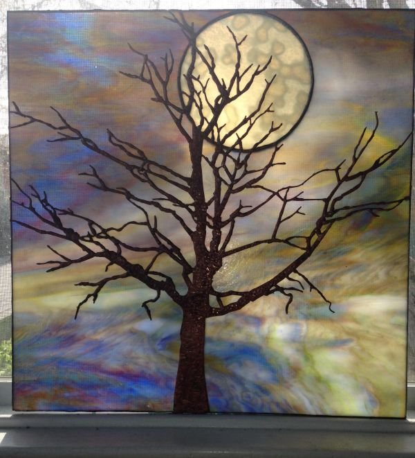Tree and Moon Stained Glass Artist