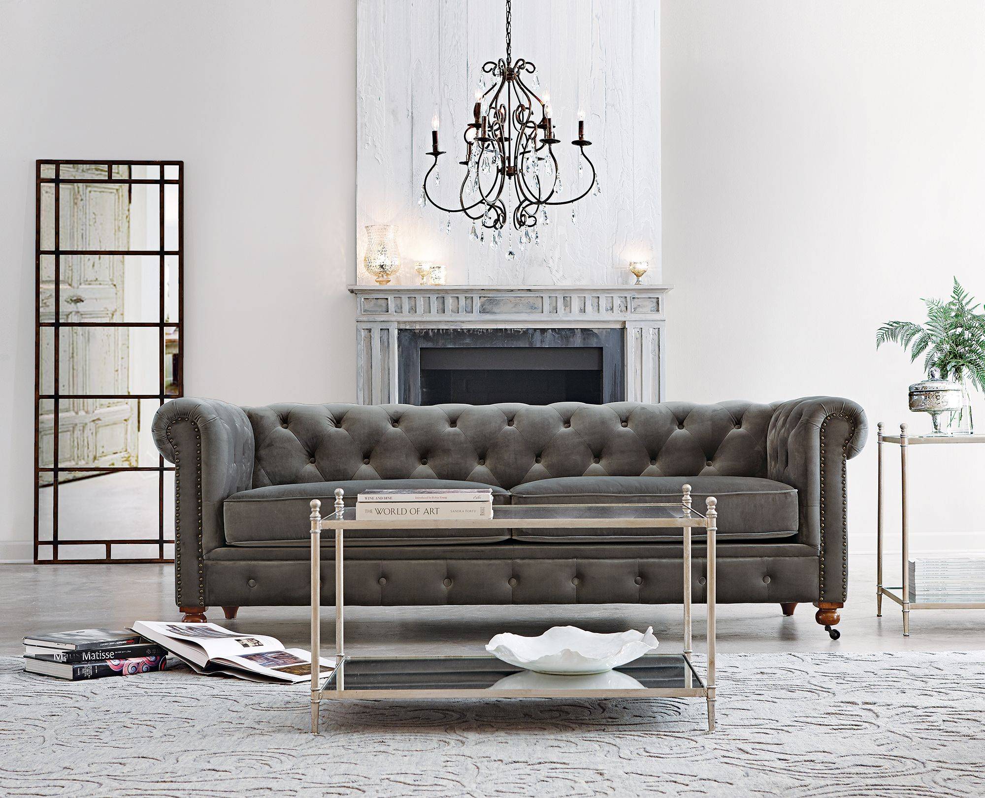 velvet grey tufted sofa olivia set our favorite gordon now comes in