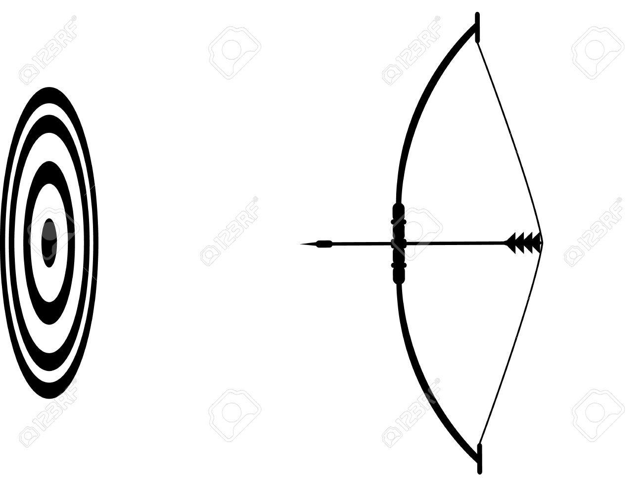 Arc Et La Fleche Et La Cible Vecteur Icone Clip Art
