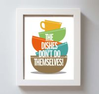 Art for Kitchen Art Print Fiestaware Washing Dishes ...