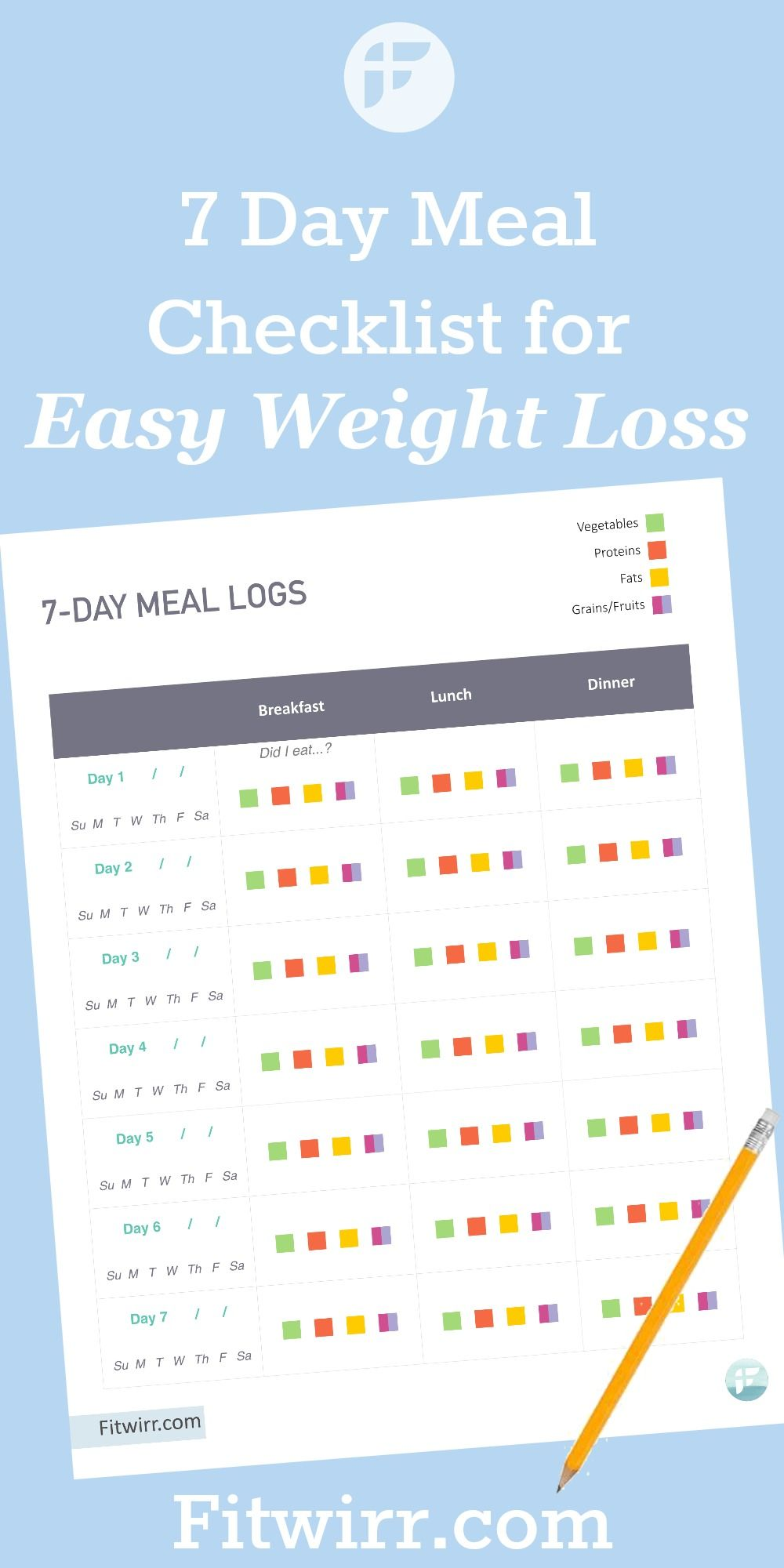 7 Day Healthy Weight Loss Plan - Meal Planning Template