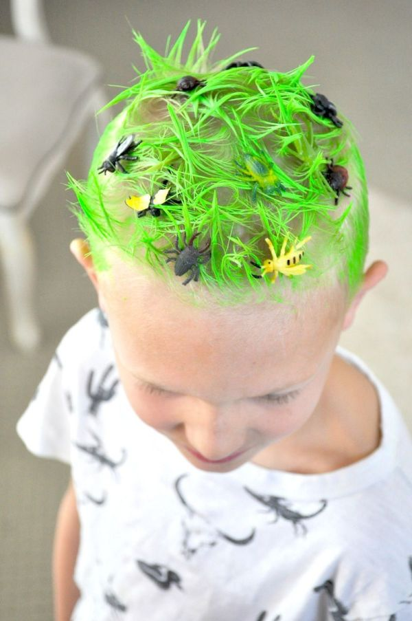 Crazy Hair Day Ideas- Green Grass & Bugs Red Ribbon Week