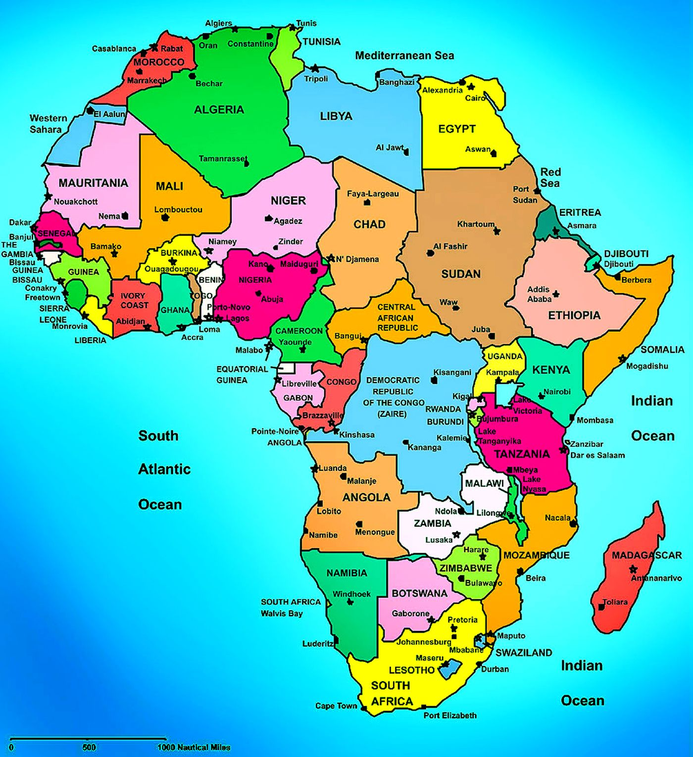 Africa Political Map Countries And Capital Cities