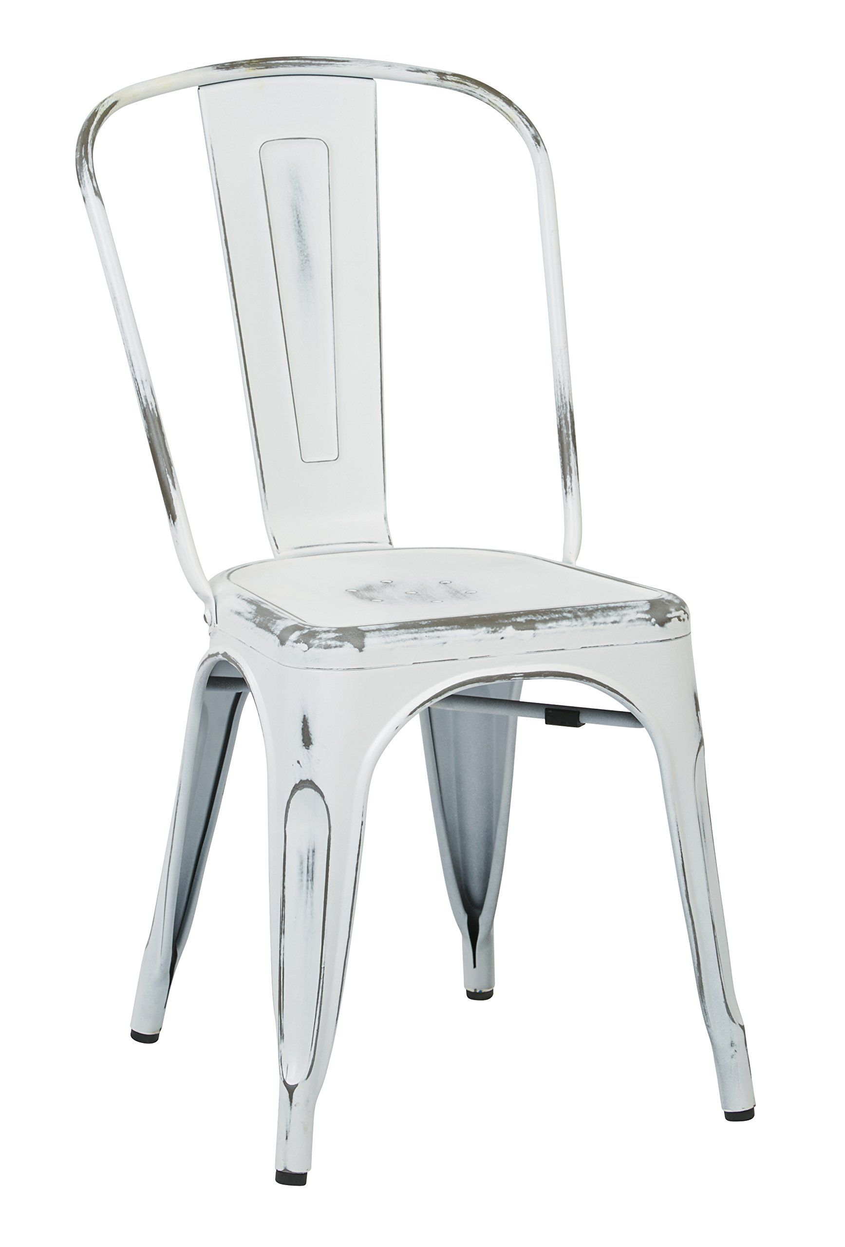 White Metal Chair Vintage Metal Dining Chair Distressed White Amazon