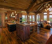 Open floor plan farmhouse kitchen rustic with vaulted ...
