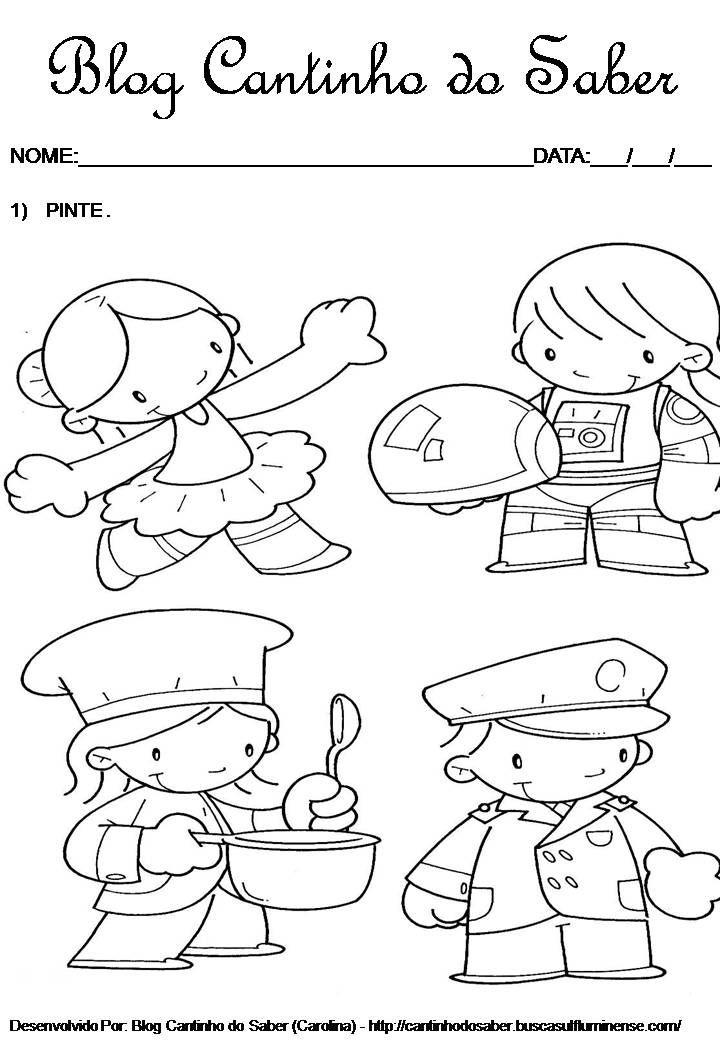 atividades sobre profissões no pré escolar pinterest
