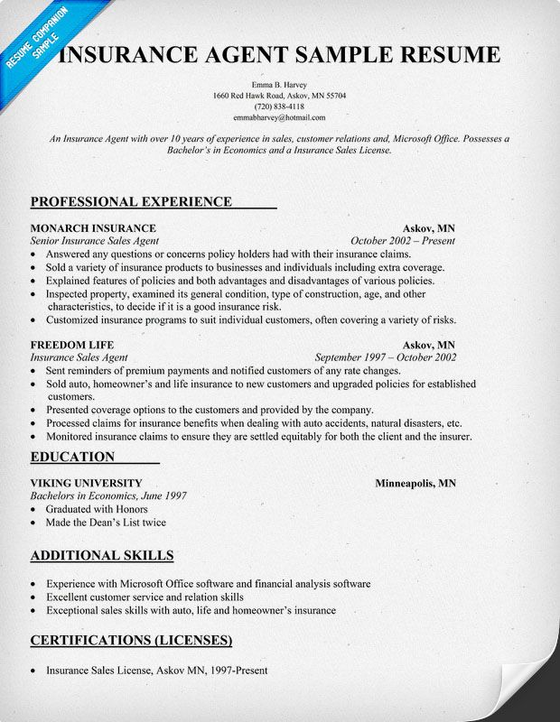 resume template licensed life and health insurance agent
