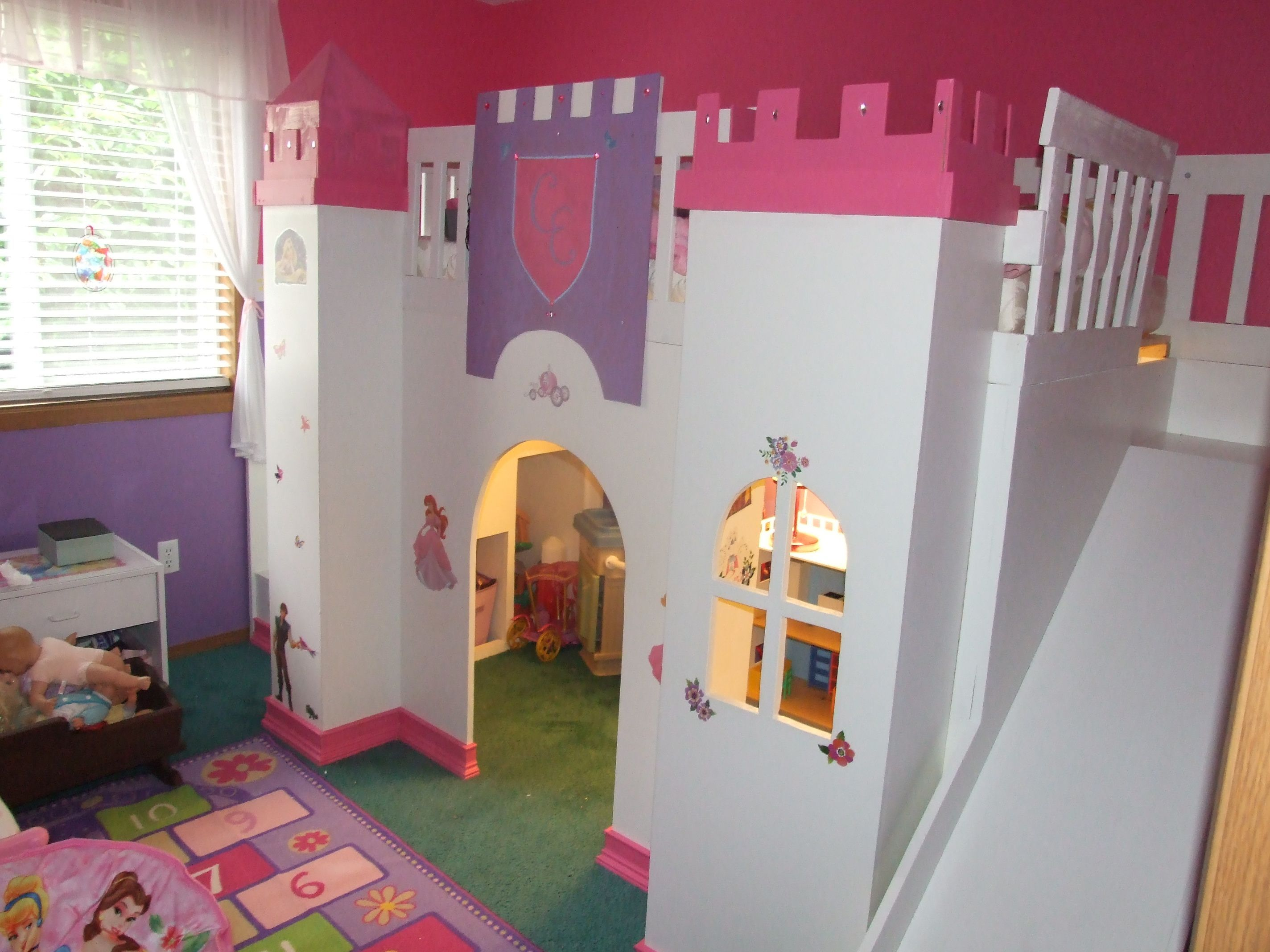 Pretty princess high sleeper playhouse bed - Diy Castle For Kids Princess Loft Bed With Slide