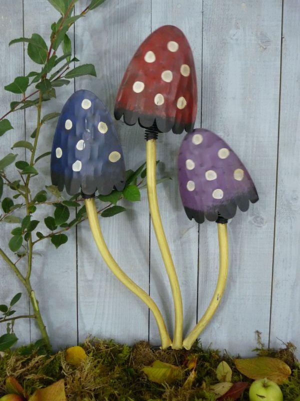 Colourful Large Metal Mushroom Garden Ornament Statue