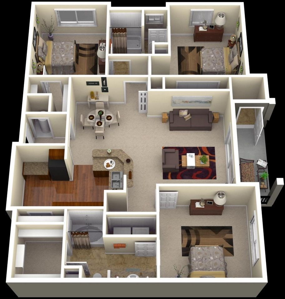 "50 Three ""3"" Bedroom Apartment House Plans Bedroom Floor Plans"