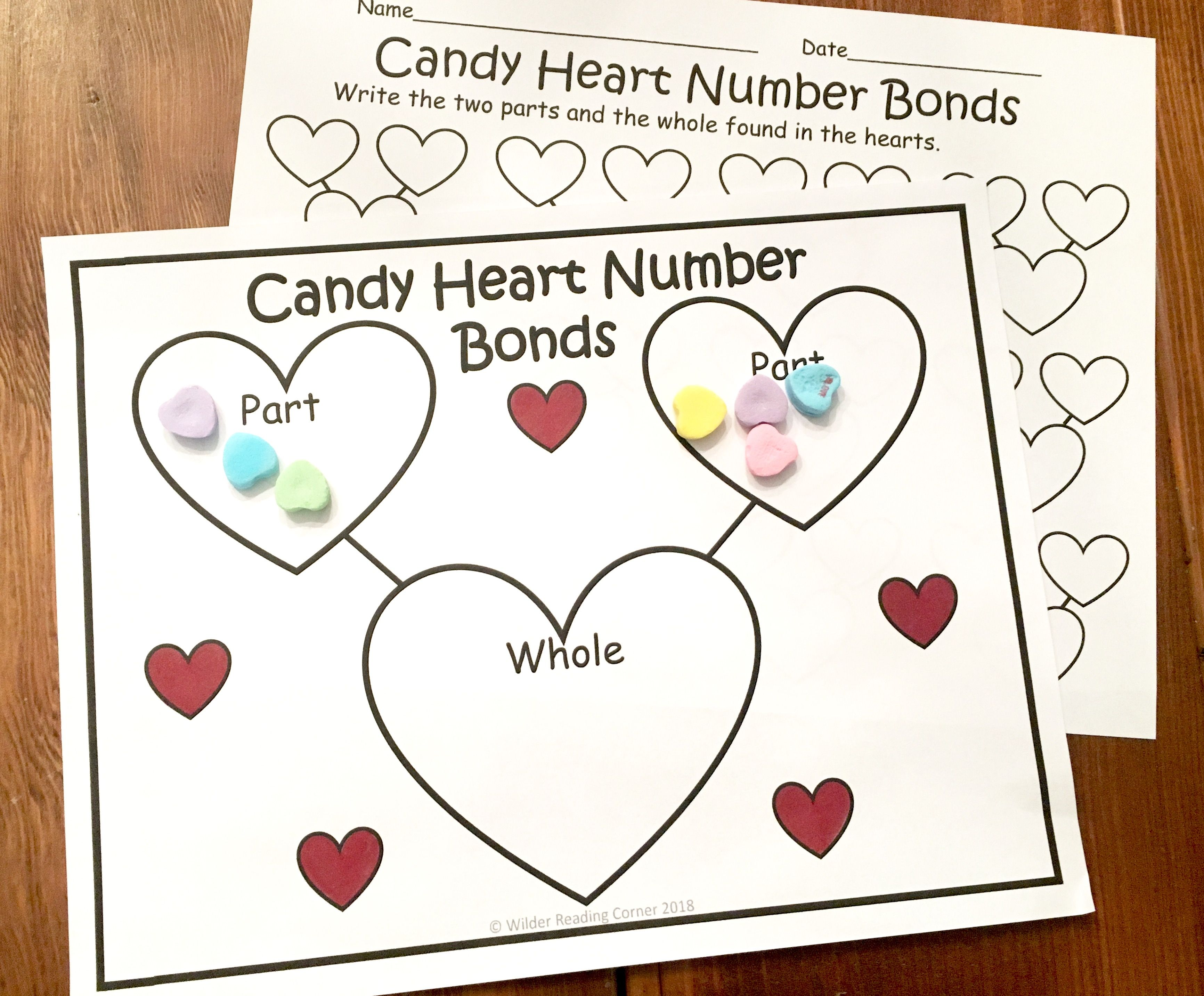 Valentine S Day Composing Kindergarten Math Center Candy Heart Number Bonds