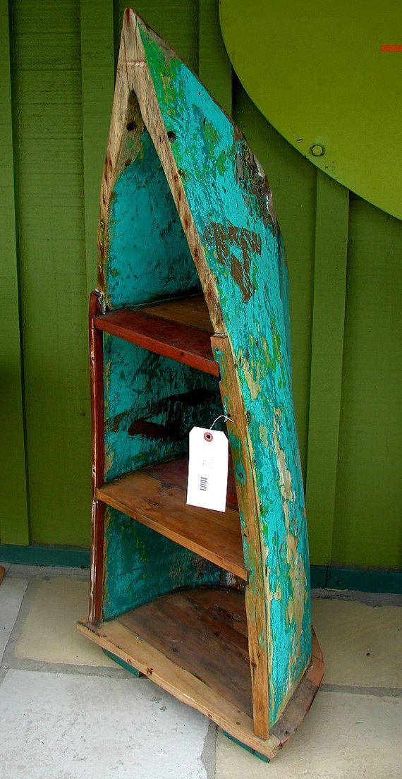 Bali Reclaimed Teak Boat Bookshelf Bookcase Shelves By