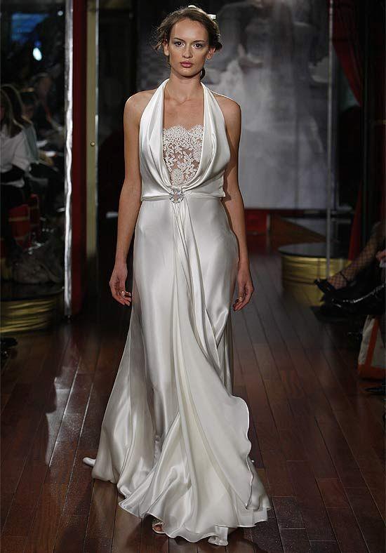 Halter Floor Length Attached Silk Charmeuse Alencon Lace Wedding Dress Style Pret 810  Wedding