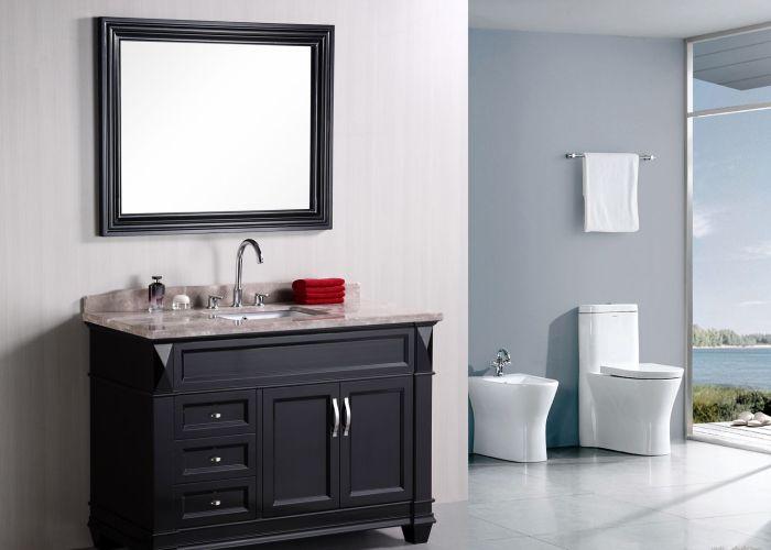 The hudson single bathroom vanity is elegantly constructed of solid oak wood also