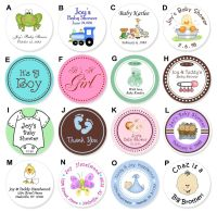 24 Round Baby Food Jar Lid Personalized Shower Label D ...
